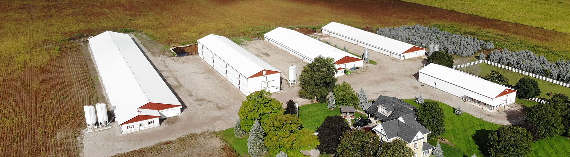 Aerial shot farm buildings